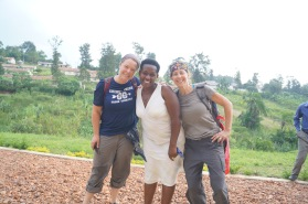 Amy Weeks, teacher Ngabirano Junancea and Amy Boyce
